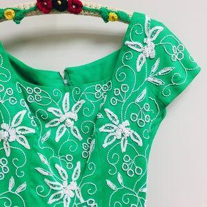 Vintage Applique'd Green Linen Dress, Small